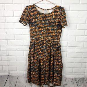 Lularoe Amelia classic zip up dress pockets fall M